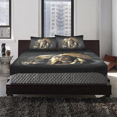 NATIVE AMERICAN INDIAN EAGLE WOLF SPIRIT ANIMALS 3-Piece Bedding Set 1 Duvet Cover 2 Pillowcases