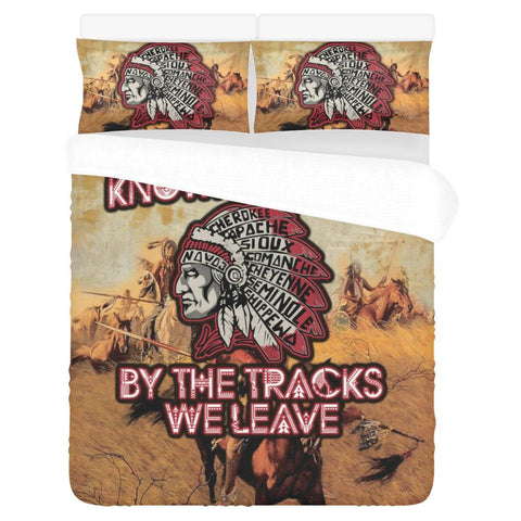 We will be known forever by the tracks we leave 3-Piece Bedding Set 1 Duvet Cover 2 Pillowcases Bedding Set bedding, carthook_checkout, native, Native America, Native American- Nichefamily.co