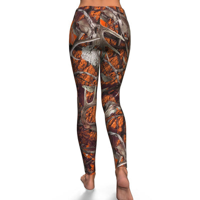 Orange Hunting all-over print leggings
