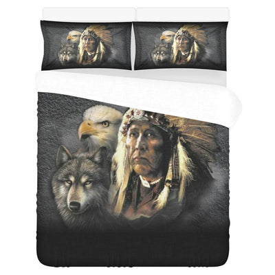 Buy NATIVE AMERICAN INDIAN EAGLE WOLF SPIRIT ANIMALS 3-Piece Bedding Set 1 Duvet Cover 2 Pillowcases - Familyloves hoodies t-shirt jacket mug cheapest free shipping 50% off