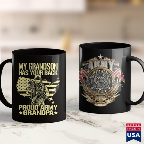 Arai Gp6 My Grandson Has Your Back  Proud Army Grandpa  Gift Army Clothing Sales 11Oz 15Oz Coffee Mug Drinkware Army Acu, Army Coins, Army Dad, Army Eod, Army Posters, Army Shorts, Army Tumbl