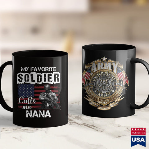 Army Aviation My Favorite Soldier Calls Me Nana Army Veteran Tee  Army Coyote Brown T Shirt 11Oz 15Oz Coffee Mug Drinkware Army Apparel, Army Bct, Army Bdu, Army Gifts, Army Medals, Army Shir