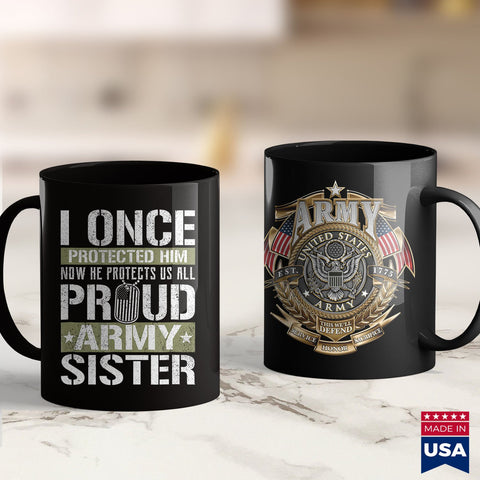 Army Bdu Proud Army Sister  Support Military Brother Us Army Clothing 11Oz 15Oz Coffee Mug Drinkware Army Bct, Army Cid, Army Coin Holder, Army Commendation Medal, Army Enlisted, Army Merchan