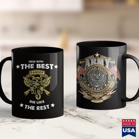 Army Cid Mess With Ranger Die Like Res For Us Army Ranger  Black Army Shirt 11Oz 15Oz Coffee Mug Drinkware Air Force Coffee Mug, Argo Tea, Army Clothing, Army License Plate, Army Mug, Army Na