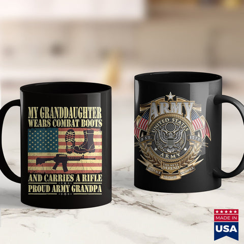 Army Jackets Mens My Granddaughter Wears Combat Boots Proud Army Grandpa Gifts  Army Shirts For Sale 11Oz 15Oz Coffee Mug Drinkware Arab Tee, Army Blanket, Army Commendation Medal, Army Cot,