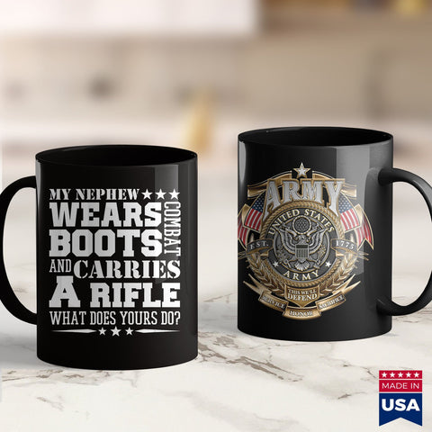 Army Law Mens Army Uncle  My Nephew Wears Boots Soldiers Shirts 11Oz 15Oz Coffee Mug Drinkware Army Blanket, Army Challenge Coin, Army Cid, Army Cot, Army Jackets, Army Patches, Army Pft, Arm
