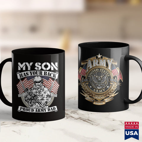 Army Medals My Son Has Your Back Proud Army Dad  Military Father Gift  Tan Military Shirts 11Oz 15Oz Coffee Mug Drinkware Air Force Coffee Cups, Army Abu, Army Challenge Coin, Army Cid, Army