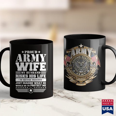 Army Rank Proud Army Wife  Military Wife Protects Me Mens Army Green T Shirt 11Oz 15Oz Coffee Mug Drinkware American Coffee Mugs, Army Guy, Army One, Army Pins, Army Recruiting, Army Vet, Arm