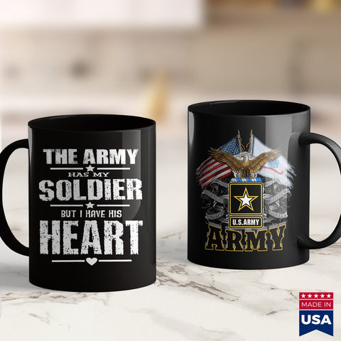 Army Rings Womens Army Wife  The Army Has My Soldier But I Have His Heart Army Shop 11Oz 15Oz Coffee Mug Drinkware American Coffee Mugs, Army Coin Holder, Army Guy, Army Nvg, Army Posters, Ar