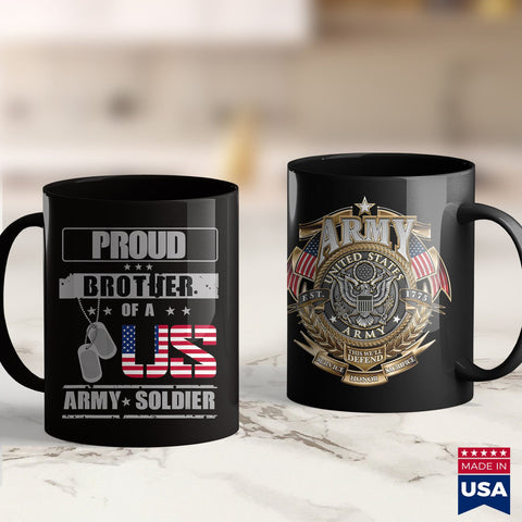 Army Sweatshirts Proud Brother Of A Us Army  T Army 11Oz 15Oz Coffee Mug Drinkware Arab Tee, Army Apparel, Army Badge, Army Bdu, Army Car, Army Rank, Army Tag, Army Tee, Army Toy, Man Mug, Us