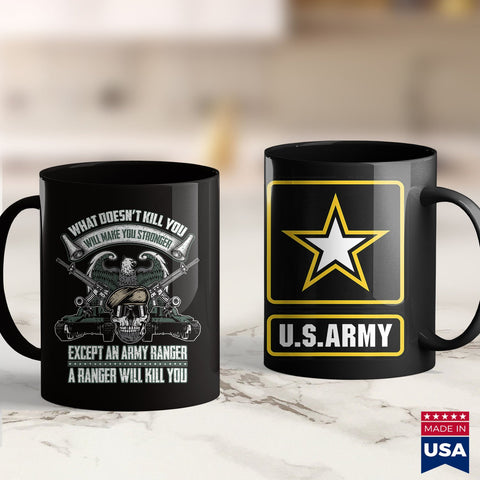 Army Water Bottle An Army Ranger Will Kill You   10081 Military T Shirt Design 11Oz 15Oz Coffee Mug Drinkware Army Bag, Army Gifts, Army Hoodie, Army Job, Army Military Police, Army Mod, Army