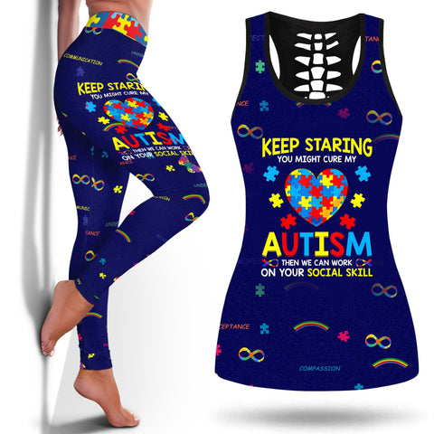 Autism Diagnosis Age Keep Staring You Might Cure My Autism T-Shirt Puzzle Gift Autism Movieslegging And Tanktop Legging and Tanktop Autism Legging- Nichefamily.com