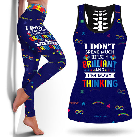 Autism In Adults I Dont Speak Much Brilliant Autism Autistic Kids Boys Girls T-Shirt Autism Genelegging And Tanktop Legging and Tanktop Autism Legging- Nichefamily.com