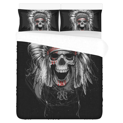 SKULL NATIVE AMERICA 3-Piece Bedding Set 1 Duvet Cover 2 Pillowcases