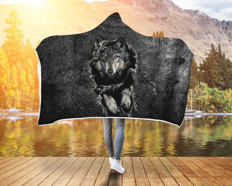 Buy Breakthrough Wolf Hooded Blanket - Familyloves hoodies t-shirt jacket mug cheapest free shipping 50% off