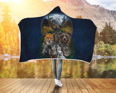 Buy Native American - Bear Wolf Owl Fox 3D Hooded Blanket - Familyloves hoodies t-shirt jacket mug cheapest free shipping 50% off