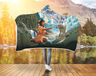 5D Diamond Painting Native Woman with Dreamcatcher and Wolves Hooded Blanket Hooded Blanket carthook_checkout, hookedblacket, hookedblanket, native, Native America, Native American- Nichefami