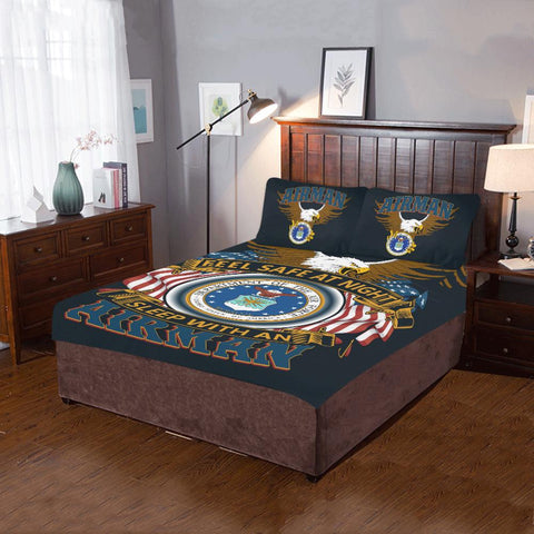 DUVET COVER AND PILLOWCASES FEEL SAFE AT NIGHT SLEEP WITH AN AIRMAN Bedding Set air force, carthook_airjacket, carthook_checkout, duvet&fillow, meta-related-collection-air-force- Nichefamily.