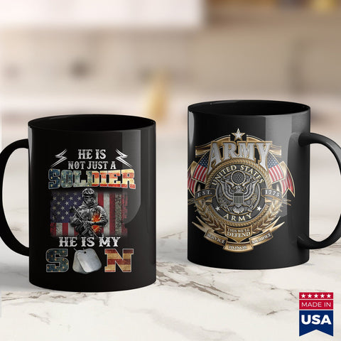 Coast Guard Coffee Mugs Proud Soldier Army Parents Mom Dad He Is My Son Flag Gift  Vintage Army Shirt 11Oz 15Oz Coffee Mug Drinkware Air Force Mug, Army Cid, Army Commendation Medal, Army Fla