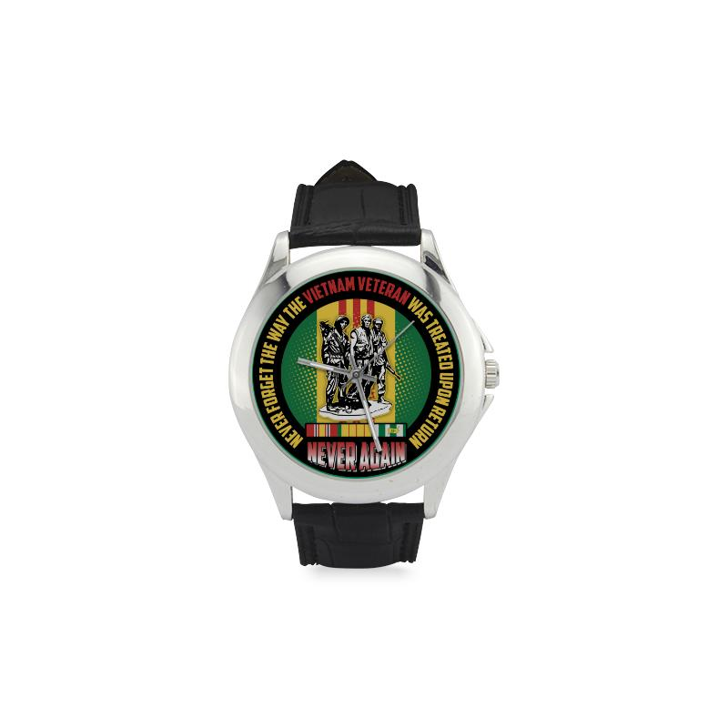 Buy Never Forget The Way The Vietnam Veteran Was Treated Upon Return Men's Classic Leather Strap Watch - Familyloves hoodies t-shirt jacket mug cheapest free shipping 50% off