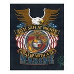 DUVET COVER AND PILLOWCASES FEEL SAFE AT NIGHT SLEEP WITH A MARINE Bedding Set carthook_checkout, carthook_marine_embroidered, carthook_vietnam, duvet&fillow, marine, marine corps, meta-relat