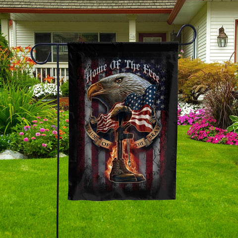 America Home Of The Free Because Of The Brave Garden Flag  Garden Flag- Nichefamily.com