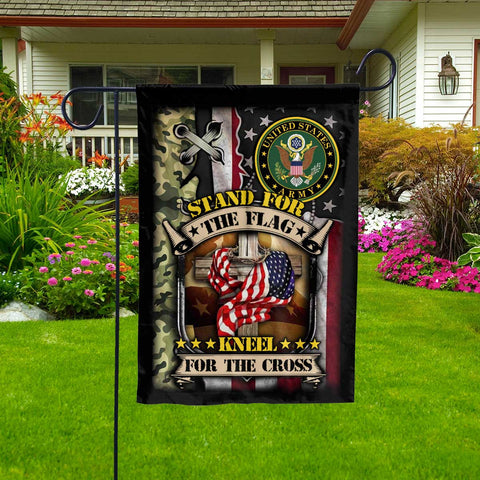 Stand For The Kneel For The Cross Us Army Veteran Garden Flag  Garden Flag- Nichefamily.com