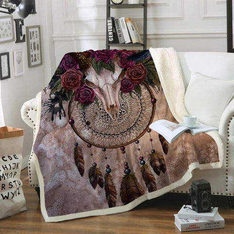 Mystery Skull Dreamcatcher Fleece Blanket Plush Bedclothes Floral Throw Blanket Gothic cobertor  carthook_checkout, carthook_native, Fleece Blanket, Native America, Native American- Nichefami