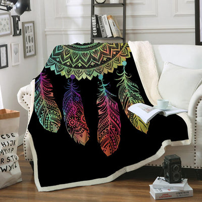 Buy Dreamcatcher Sherpa Fleece Blanket Bohemian Mandala Sherpa Fleece Blanket on the Bed Sofa Colorful Plaid Bedspread - Familyloves hoodies t-shirt jacket mug cheapest free shipping 50% off