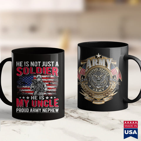 Make Stuff He Is Not Just A Solider He Is My Uncle Proud Army Nephew  Army Long Sleeve Shirt 11Oz 15Oz Coffee Mug Drinkware 1St Army, Air Force Mug, Army Cid, Army Eod, Army Hats, Army Licens