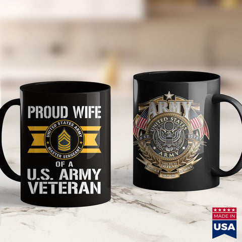 Military Army Proud Wife Of A U.S. Army Veteran E8 Master Sergeant  Combat Shirt 11Oz 15Oz Coffee Mug Drinkware Arab Tea, Army Hoodie, Army Insignia, Army License Plate, Army Medals, Army Pat
