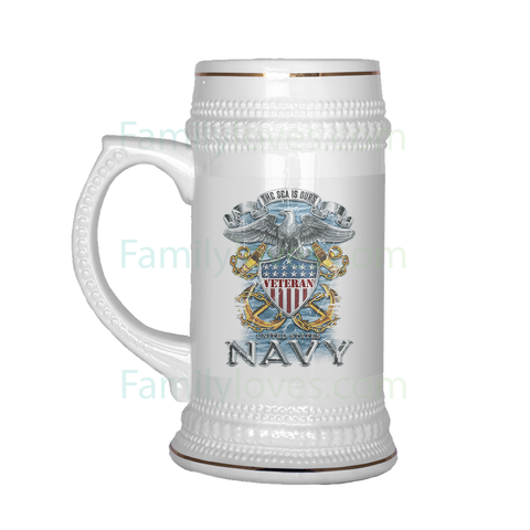 U S NAVY VETERAN v2.0 BEER STEIN Drinkware beer stein, carthook_checkout, carthook_navy, meta-relate-collection-u-s-navy-seals, MILITARY, navy, navy seals, veteran- Nichefamily.com