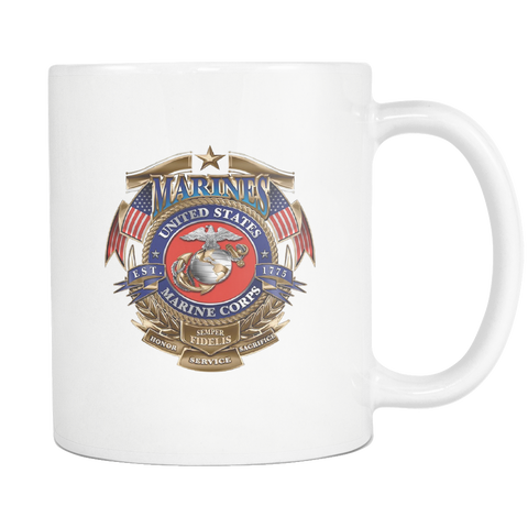 U.S.M.C.HONOR SERVICE & SACRIFICE SEMPER-FIDELIS MUG Drinkware carthook_checkout, carthook_marine_embroidered, marine corps, meta-related-collection-marine-corps, MILITARY, mug, veteran- Nich
