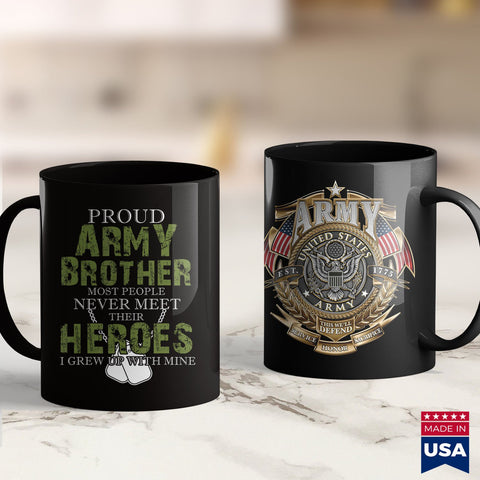 Retirement Coffee Mugs Proud Army Brother  Tiger Army Shirt 11Oz 15Oz Coffee Mug Drinkware Army Belt Buckle, Army Bmi, Army Challenge Coin, Army Coffee Mugs, Army Military Police, Army Mod, A
