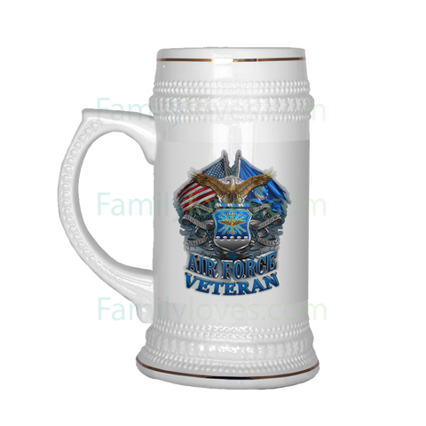 AIR FORCE VETERAN BEER STEIN Drinkware air force, beer stein, carthook_airjacket, carthook_checkout, meta-related-collection-air-force, meta-related-collection-veterans, veteran- Nichefamily.