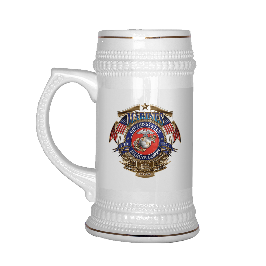 Buy USMC HONOR SERVICE & SACRIFICE SEMPER-FIDELIS BEER STEIN - Familyloves hoodies t-shirt jacket mug cheapest free shipping 50% off