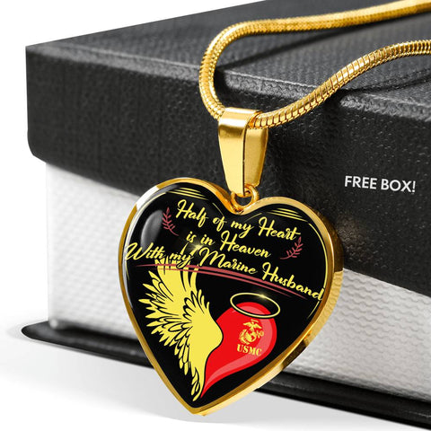 HALF OF MY HEART IS IN HEAVEN WITH MY MARINE HUSBAND wp Jewelry - Nichefamily.com