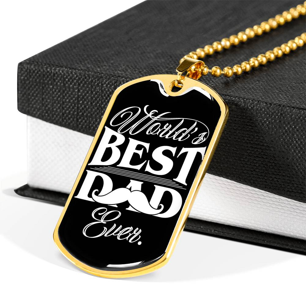 World's best dad ever Luxury Engraving Dog Tag Necklace