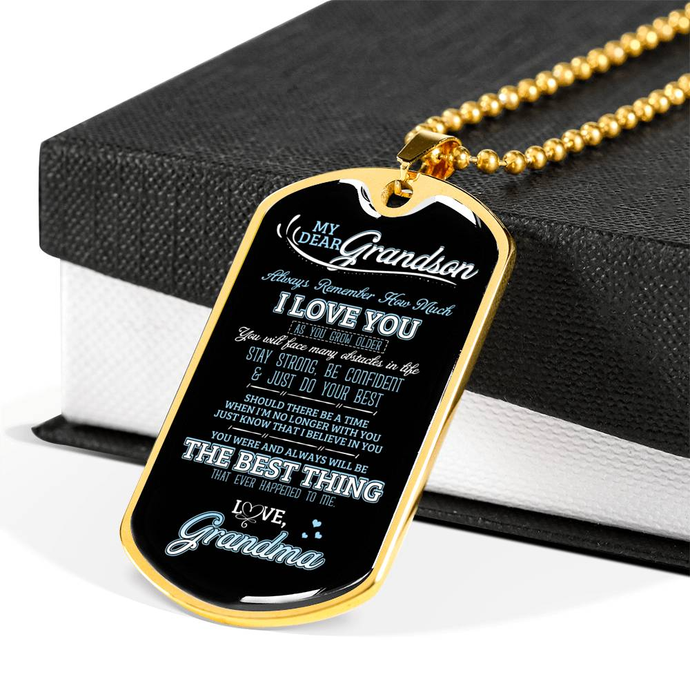 My dear grandson... Luxury Engraving Dog Tag Necklace