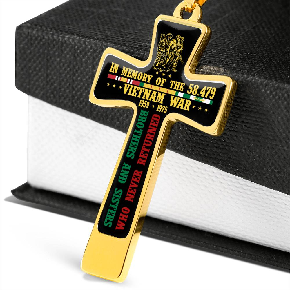 in memory of the 58,479 brother and sisters who never returned vietnam war 1959 1975 Luxury Engraving Cross Necklace