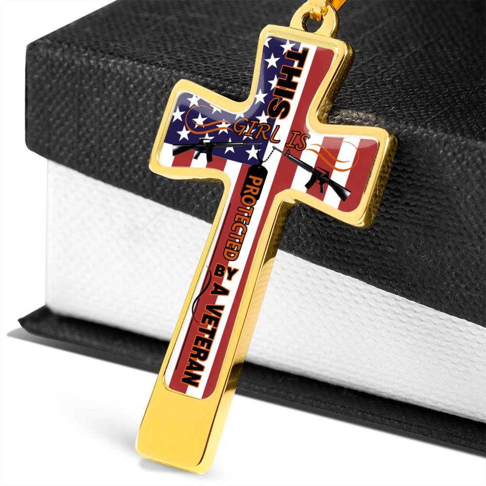 THIS GIRL IS PROTECTED BY A VETERAN Luxury Engraving Cross Necklace