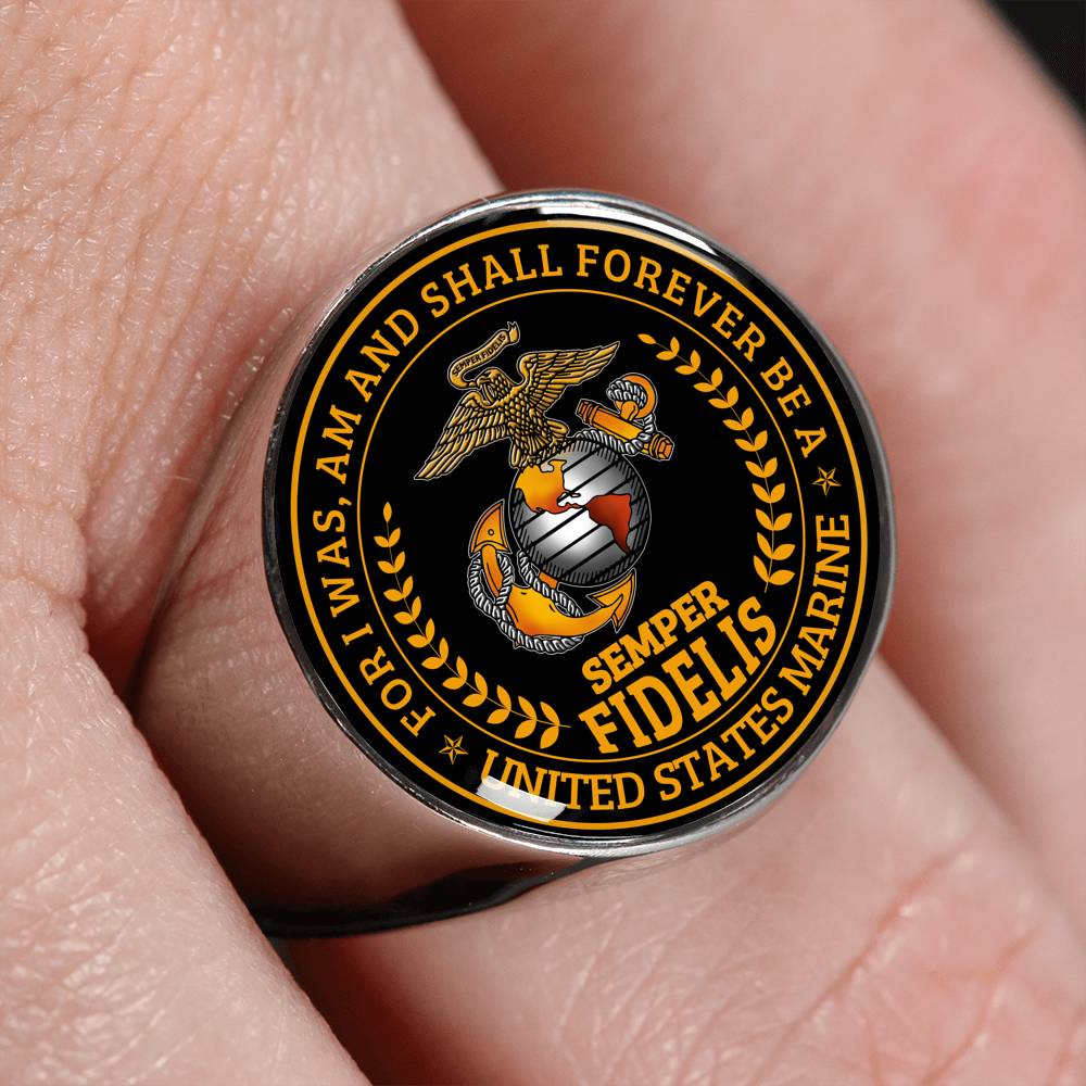 semper fidelis For I was am and shall forever be a united states marine Ring wp