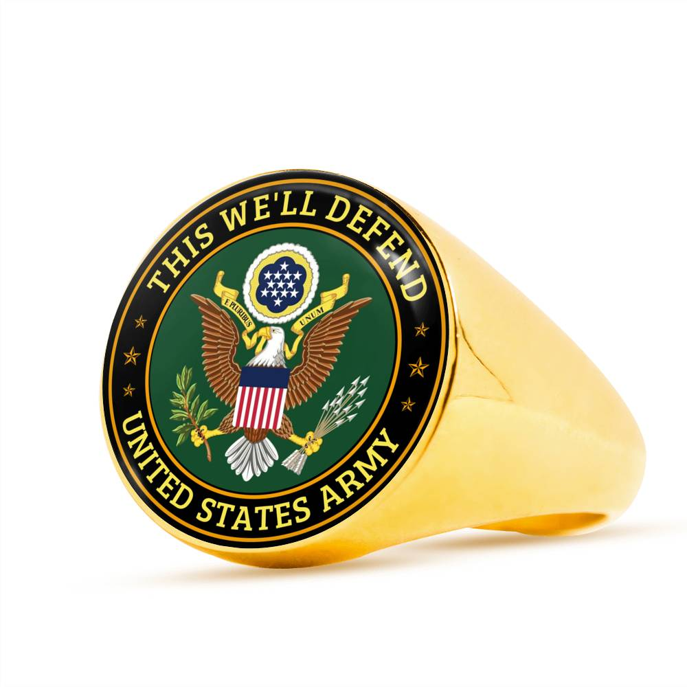 This we'll defend United States army Luxury Engraving Ring