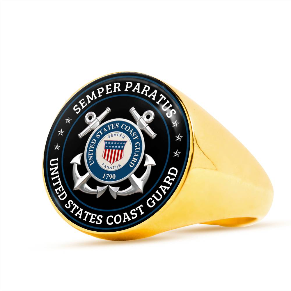 Semper paratus United States coast guard Luxury Engraving Ring