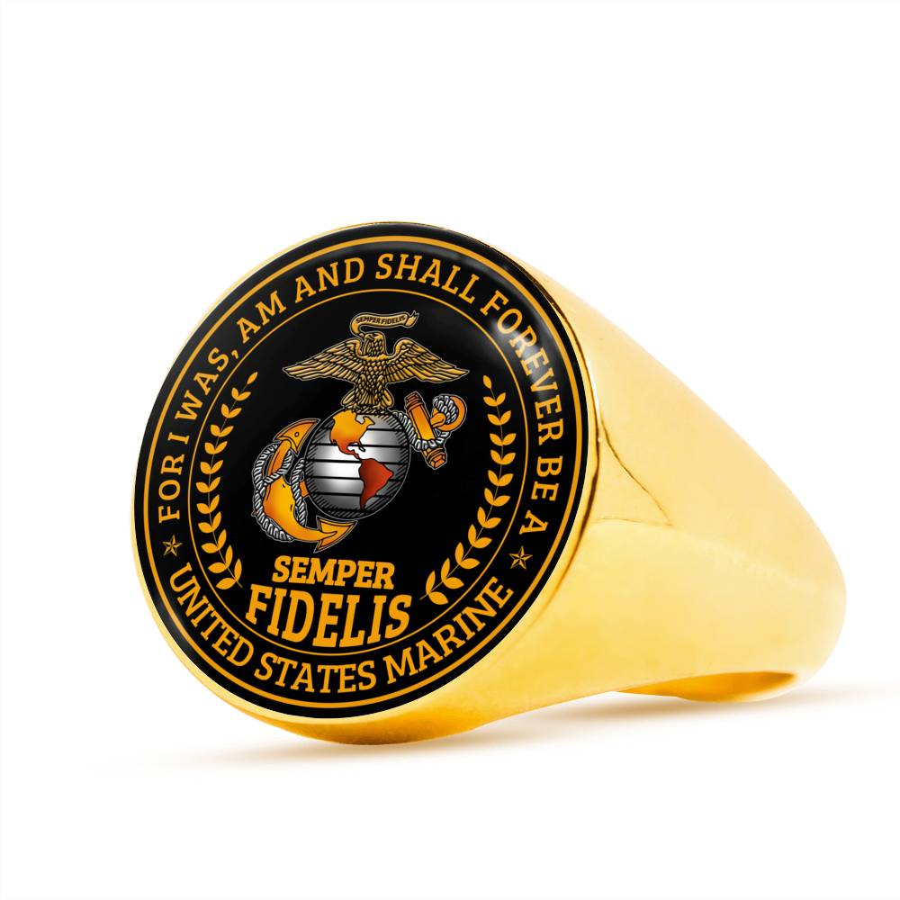 Semper fidelis For I was am and shall forever be a United States marine Luxury Engraving Ring