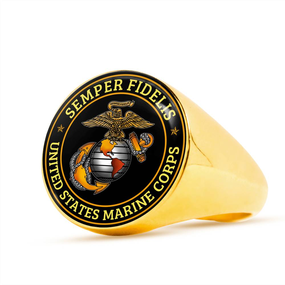 Semper fidelis United States marine corps Luxury Engraving Ring