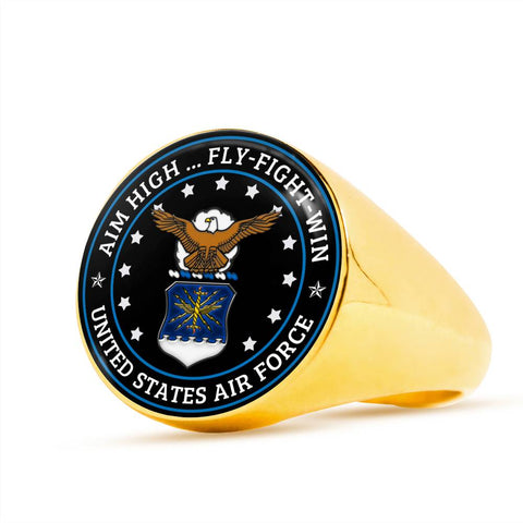 Aim high fly fight win United States air force Luxury Engraving Ring Ring air force, carthook_checkout, carthook_ring, jewelry, meta-related-collection-air-force, RING, veteran, veteran day-