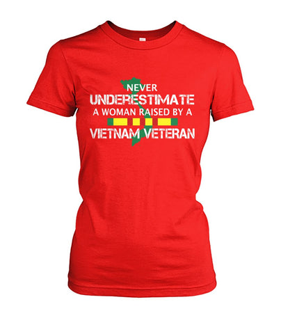 Never underestimate a woman raised by a vietnam veteran wp Ladies Tees - Nichefamily.com