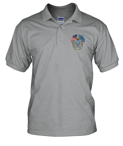 U.S AIR FORCE RETIRED POLO SHIRT wp Short Sleeves - Nichefamily.com