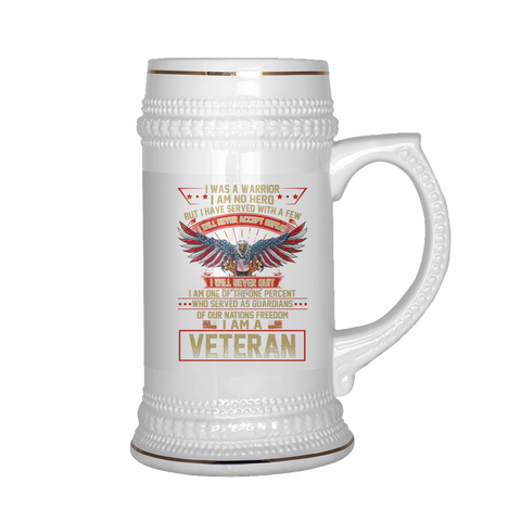 I WAS A WARRIOR I AM NO HERO BUT I HAVE SERVED WITH A FEW I WILL NEVER ACCEPT DEFEAT BEER STEIN Drinkware carthook_checkout, meta-relate-collection-u-s-navy-seals, meta-related-collection-air